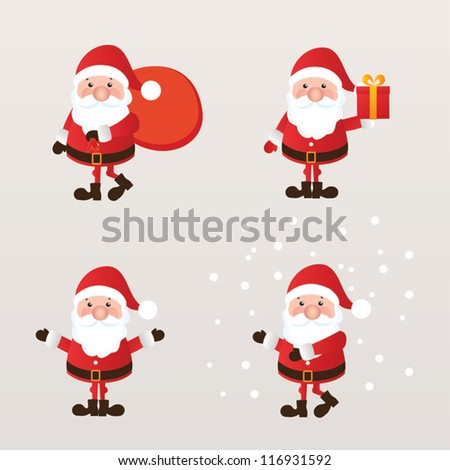 Set of Santa Claus. vector illustration. - stock vector