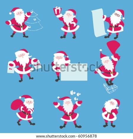 Set of Santa. Santa say ho-ho. Keeps a list of present, carries bag, comes down the chimney, dresses up Christmas tree, asks a Nice or Naughty, Keeps a present. eps8 file - stock vector
