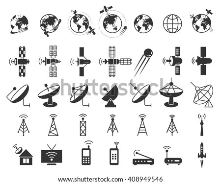 Set of satellite, communication, wireless, connection technology, internet signal icons. Vector illustration - stock vector