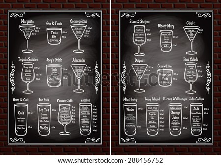 set of schemes ingredients for making cocktails - stock vector