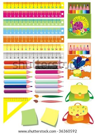 Set of school accessories. Vector illustration. - stock vector
