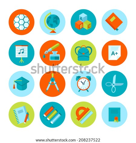 Set of school and education icons. Vector school symbols in flat modern style.  - stock vector