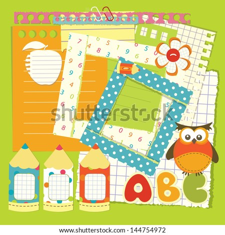 Set of school element for scrapbook