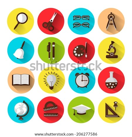 set of 16 school icons, brightly colored. Vector illustration - stock vector