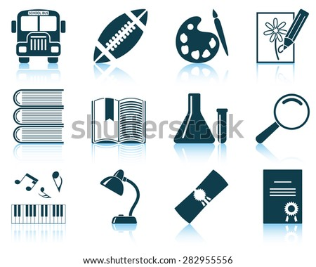 Set of school icons. EPS 10 vector illustration without transparency. - stock vector