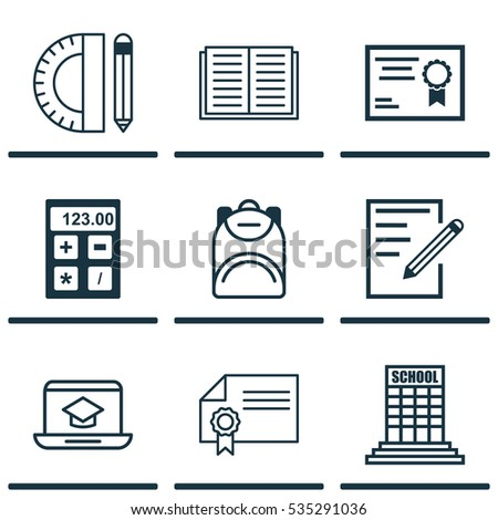 Set Of 9 School Icons. Includes Opened Book, Electronic Tool, Haversack And Other Symbols. Beautiful Design Elements.