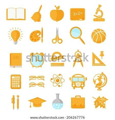Set of school icons orange. Vector illustration - stock vector