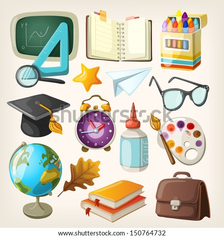 Set of school items. Back to school - stock vector