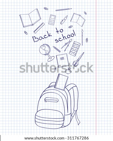 Set of school-related items. Sketch-like illustration of a backpack, books, pens and other objects for studies. Background imitating a sheet of paper from a copy-book, eps10. - stock vector