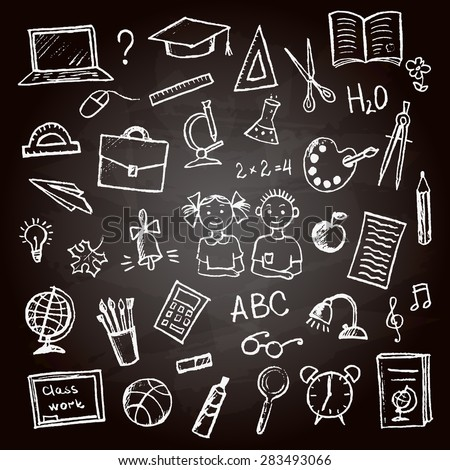 Set of school sign and symbol doodles elements.Hand-drawn colored pencil on chalk Board, vector illustration. - stock vector