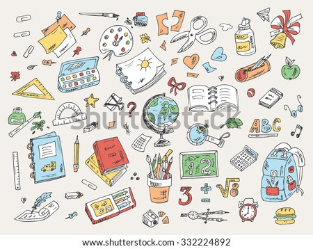 Set of school supplies. Back to school. Hand Drawn Doodles illustration