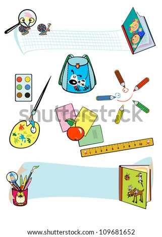 set of school tools isolated on white background - stock vector