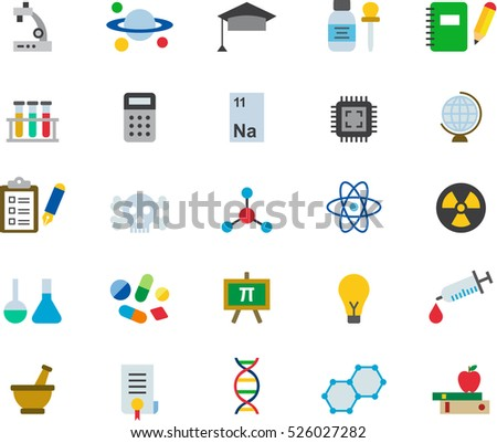 set of SCIENCE color flat icons