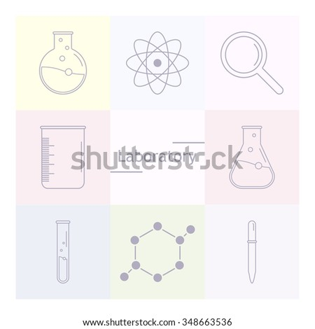 Set of science icons. Chemical tools and utensils. Laboratory equipment. Chemical test tubes icons. Research and science. Vector Illustration, graphic elements for design. - stock vector