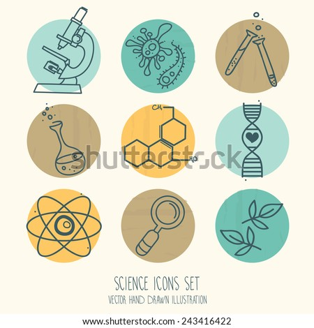 set of science icons in hand drawn cartoon style, vector illustration - stock vector