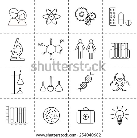 Set of science icons. Outlines.