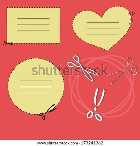 Set of scissors cutting a paper. A vector illustration - stock vector