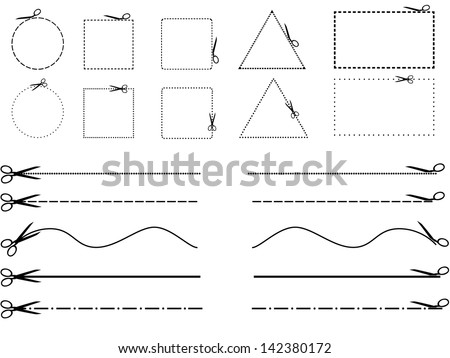 Set of scissors cutting shapes and lines illustrated on white background - stock vector