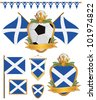 set of scotland football supporter flags and emblems, isolated on white - stock vector