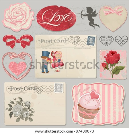 Set of scrap booking beautiful love symbols - stock vector