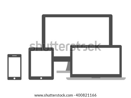 set of screens on a white background - stock vector