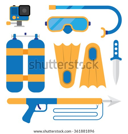 set of scuba diving icons - stock vector