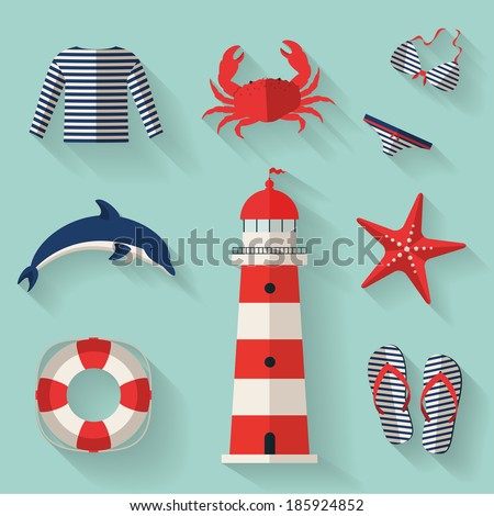 Set of sea and beach flat icons. Collection of design elements. Vector illustration. - stock vector