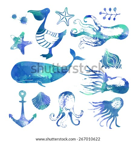 Set of sea animals. Blue vector background. Watercolor vector background.