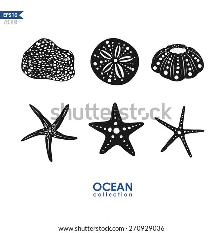 set of sea creatures, isolated on white - stock vector