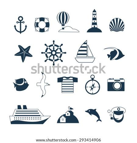 set of sea cruise vector icons  - stock vector