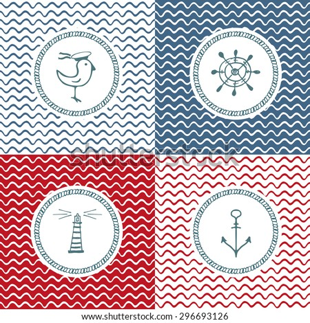 set of sea hand drawn icons on wave background - stock vector