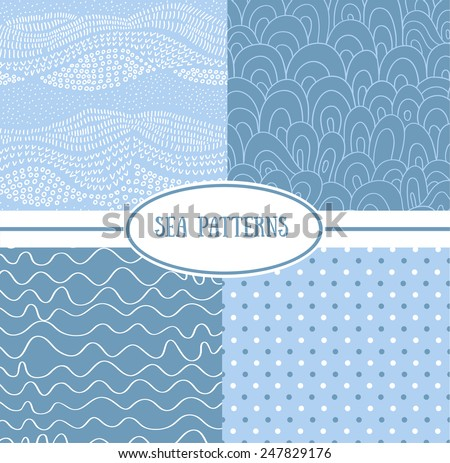 Set of sea seamless patterns (tiling). Vector illustration for abstract aqua design. Endless texture can be used for fills, web page background, surface. Set of blue wallpaper with curves. - stock vector