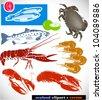 Set of seafood clip-arts - stock vector