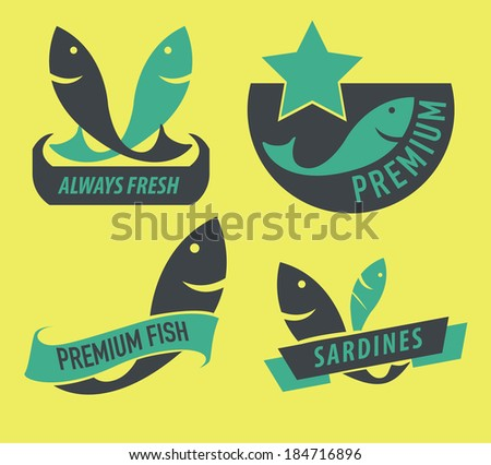set of seafood icons. concept vector illustration - stock vector