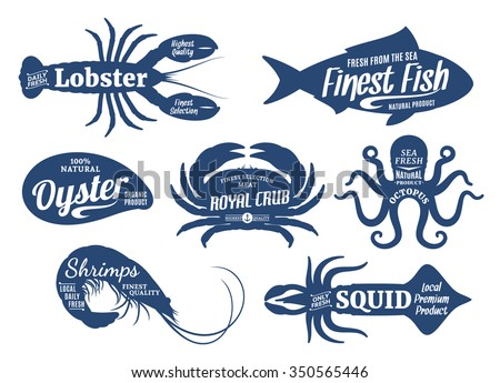 Set of seafood logo templates. Sea animals with sample text. Seafood silhouettes collection for groceries, stores, packaging and advertising. Vector logotype design.