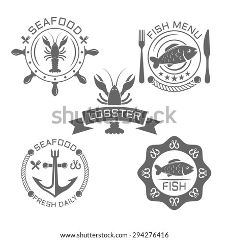 Set of seafood monochrome vintage vector labels on white background - stock vector