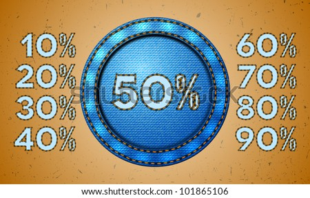 Set of seam discount percents for jeans label - stock vector
