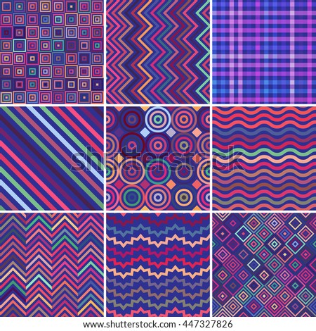 Set of seamless abstract background, 9 geometric pattern, vector illustration. Pink, blue, purple colors. Texture can be used for printing onto fabric and paper  - stock vector