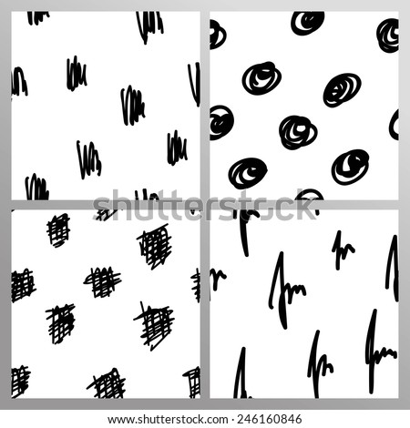 Set of seamless abstract hand drawn pattern - stock vector