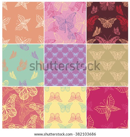 Set of Seamless backgrounds with detailed butterflies - stock vector