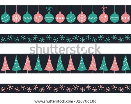 Set of seamless borders with Christmas baubles, trees and snowflakes for winter holidays design - stock vector