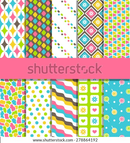 Set of 10 seamless bright fun abstract patterns - stock vector