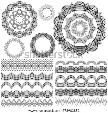 Set of seamless  brushes or dividers. 10 isolated element for your design.5 flower mandalas. Ornate monochrome editable template.  Vector illustration. - stock vector