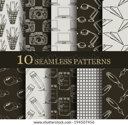 set of 10  seamless business  patterns  - stock vector