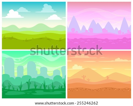 Set of seamless cartoon landscapes for game design, horizontal nature background - stock vector