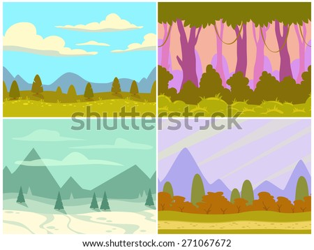 set of seamless cartoon nature landscape, simple horizontal game locations, separated layers for parallax effect - stock vector