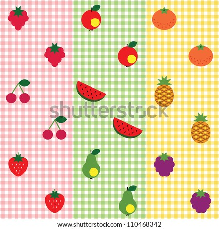 Set of seamless checked patterns with fruits. - stock vector