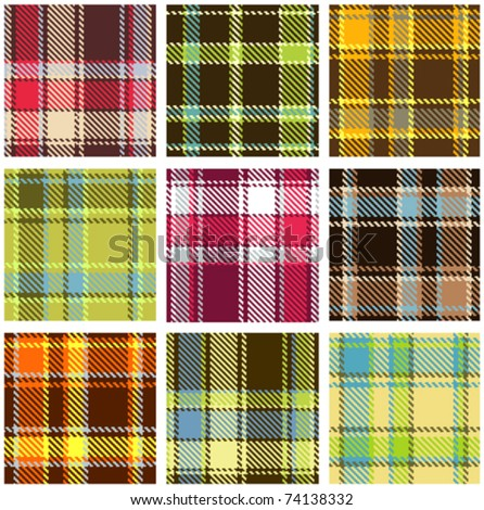 set of seamless checkered vector pattern - stock vector
