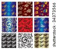 "Set of seamless chinese patterns with dragons and birds   (from my big ""Seamless collection"") - stock vector"