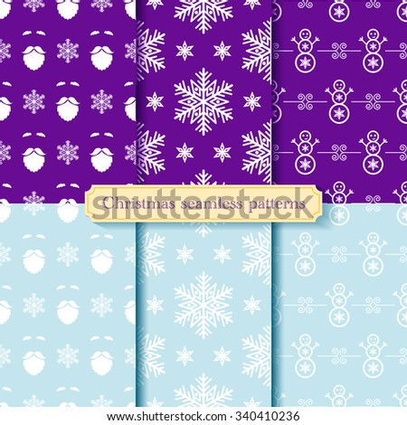 Set of seamless christmas patterns. Vector texture or background of winter holiday. EPS 10. - stock vector